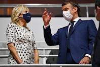 """<p>First Lady Dr. <a href=""""https://people.com/person/jill-biden/"""" rel=""""nofollow noopener"""" target=""""_blank"""" data-ylk=""""slk:Jill Biden"""" class=""""link rapid-noclick-resp"""">Jill Biden</a> and French President Emmanuel Macron attended the ceremony, which hosted far fewer dignitaries than usual due to the ongoing pandemic. </p>"""