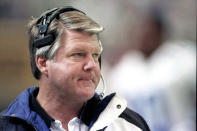 """FILE - In this Sunday, Nov. 21, 1993, file photo, Dallas Cowboys head coach Jimmy Johnson watches from the sidelines as the Atlanta Falcons pull out to an early lead at the Georgia Dome in Atlanta. """"It's the people I've been associated with that put me in the Hall of Fame,"""" Johnson said. (AP Photo/Ric Feld, File)"""