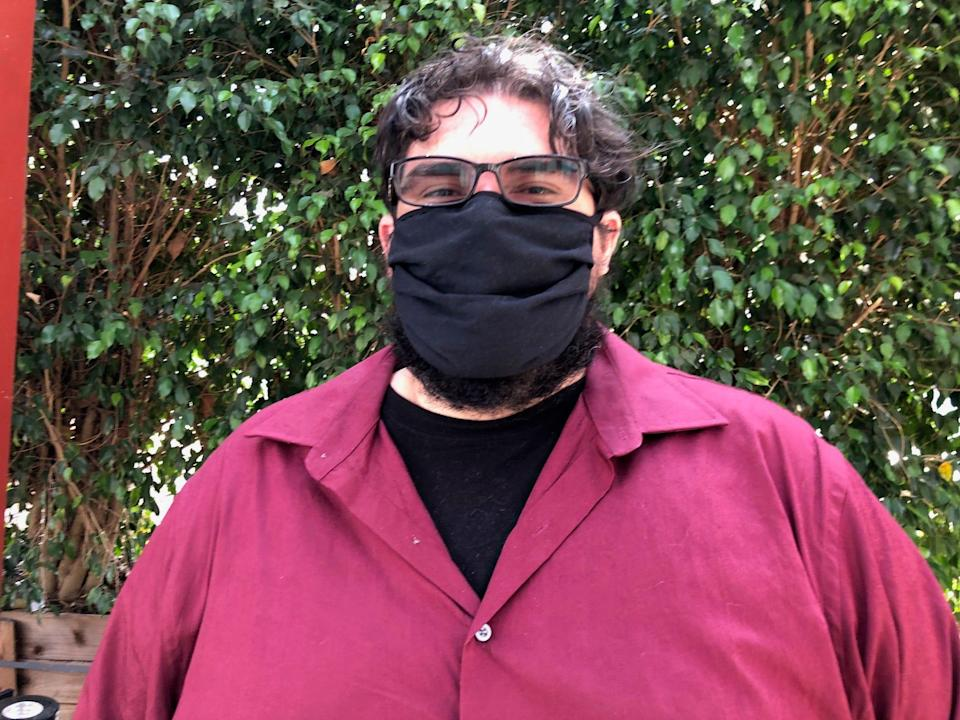 """Steven Nuñez, 35, Monrovia, Buddhist minister: Supports mask and vaccine mandates. """"We've already seen what happens when it's mandatory, and so many people don't do either."""""""