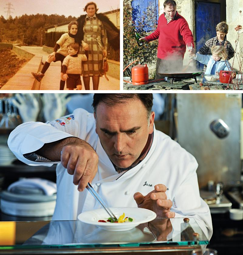 Clockwise: Andrés, left, with his mother and younger brother, grew up in northern Spain; Cooking with his daughter in the Spanish countryside; Andrés works on a dish at minibar, one of his Washington, D.C., restaurants, in 2010 | Minibar: Sarah L. Voisin—The Washington Post/Getty Images