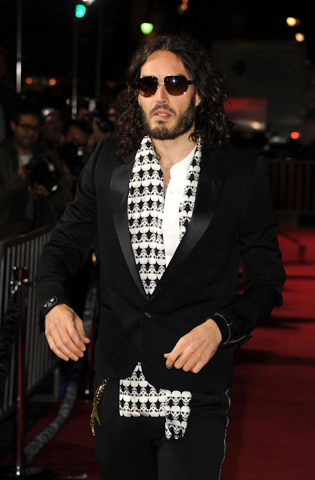"""HOLLYWOOD, CA - JANUARY 07:  Actor Russell Brand arrives at Warner Bros. Pictures' """"Gangster Squad"""" premiere at Grauman's Chinese Theatre on January 7, 2013 in Hollywood, California.  (Photo by Kevin Winter/Getty Images)"""