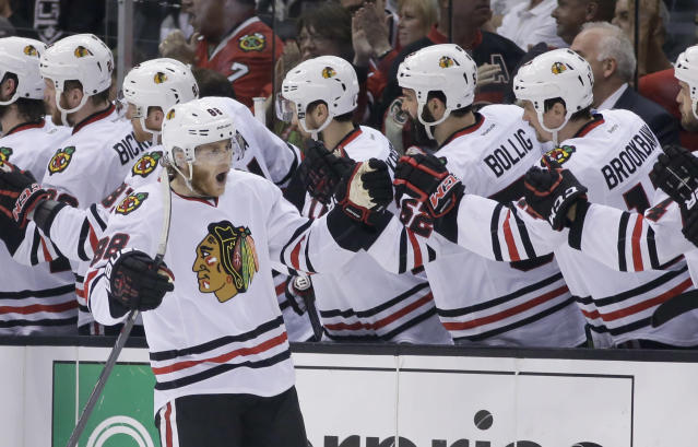 Chicago Blackhawks right wing Patrick Kane celebrates his goal against the Los Angeles Kings during second period of Game 6 of the Western Conference finals of the NHL hockey Stanley Cup playoffs in Los Angeles. Friday, May 30, 2014. (AP Photo/Chris Carlson)