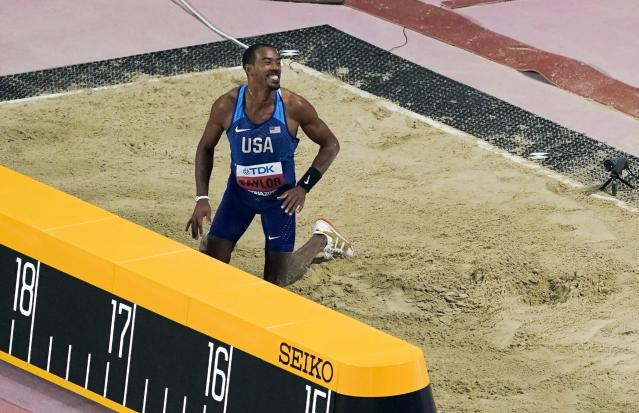 Christian Taylor, of the United States, reacts after his final jump as he wins the men's triple jump finals at the World Athletics Championships in Doha, Qatar, Sunday, Sept. 29, 2019. (AP Photo/Morry Gash)