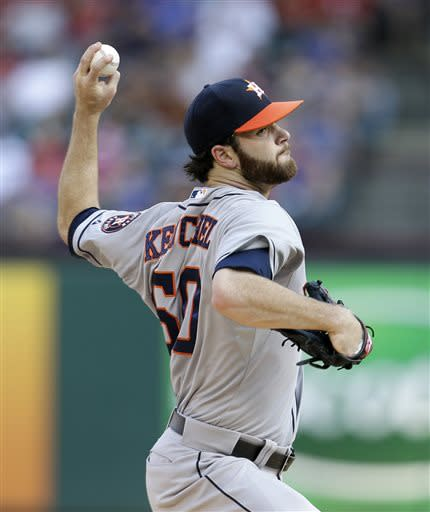Houston Astros starting pitcher Dallas Keuchel (60) works against the Texas Rangers in the first inning of a baseball game Saturday, July 6, 2013, in Arlington, Texas. (AP Photo/Tony Gutierrez)