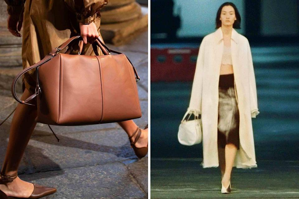 <p>In the spirit of toting lots of stuff around, try out a fab leather duffel for short trips or as a roomy handbag shape to carry run errands in. Max Mara (<em>left</em>) and Marni (<em>right</em>) showed this shape in sumptuous leathers that are pretty much impossible to resist, for both function and style.</p>