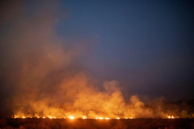 A forest wildfire spreads onto a farm in Brazil's Mato Grosso state, in the southern Amazon basin region, in August 2019