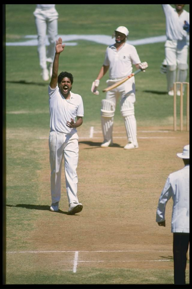 Nov 1988:  Indian All-rounder Kapil Dev appeals for a wicket during the 1st Test against New Zealand in Bangalore.       Mandatory Credit: Simon Bruty/Allsport UK