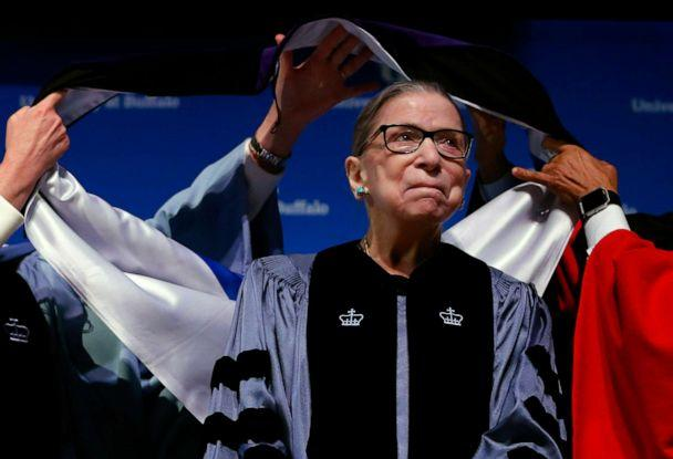 PHOTO: Supreme Court Associate Justice Ruth Bader Ginsburg attends a ceremony where she received a SUNY Honorary Degree from the University at Buffalo, Aug. 26, 2019, in Buffalo, N.Y. (Jeffrey T. Barnes/AP)