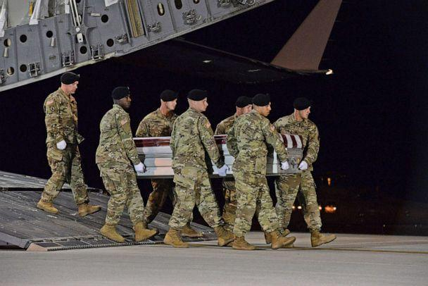 PHOTO: A U.S. Army carry team transfers the remains of Army Staff Sgt. Dustin Wright at Dover Air Force Base in Del., Oct. 5, 2017. Staff Sgt. Wright was one the 4 soldiers killed in the attack on US an Nigerien forces in southwest Niger on Oct. 4, 2017. (Aaron J. Jenne/U.S. Air Force/Handout via Reuters)