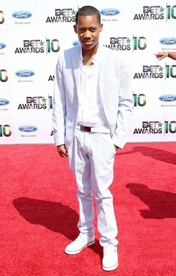 """Tyler James Williams, best known as young Chris on """"Everybody Hates Chris,"""" sported a summery suit and white sneakers. Fortunately, he has years to improve on his red carpet style. Frederick M. Brown/<a href=""""http://www.gettyimages.com/"""" target=""""new"""">GettyImages.com</a> - June 27, 2010"""