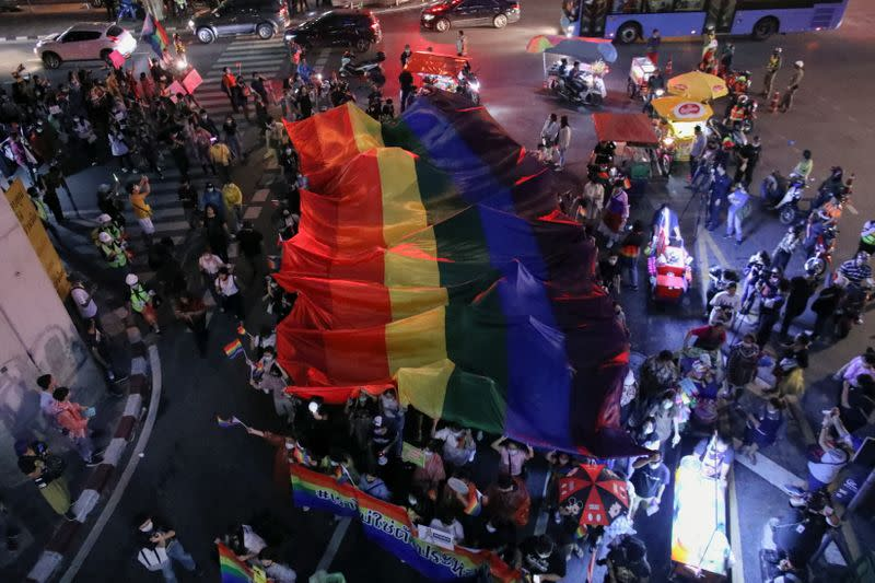 Thai anti-government protesters from the LGBT community hold a pride parade in Bangkok