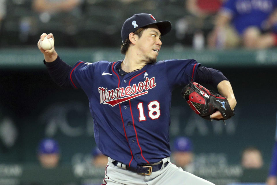 Minnesota Twins starting pitcher Kenta Maeda (18) delivers in the third inning against the Texas Rangers at a baseball game Sunday, June 20, 2021, in Arlington, Texas. (AP Photo/Richard W. Rodriguez)