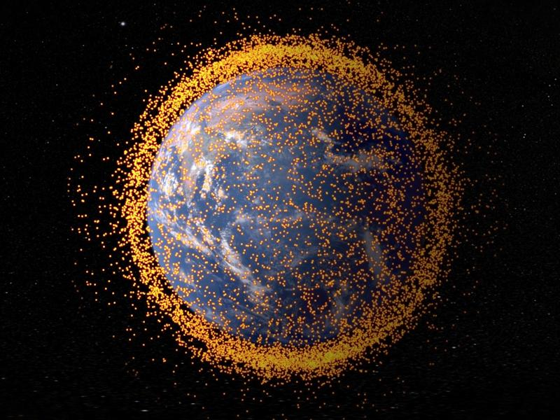 space junk debris earth orbit satellite collisions crashes nasa gsfc jsc