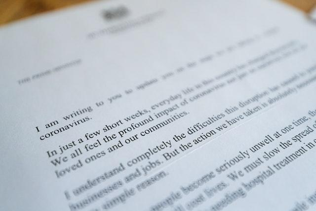 A letter from Prime Minster Boris Johnson to UK residents urging them to stay at home