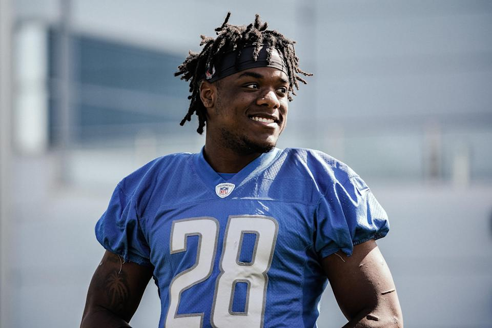 Lions running back Jermar Jefferson works out during rookie minicamp in Allen Park on Sunday, May 16, 2021.
