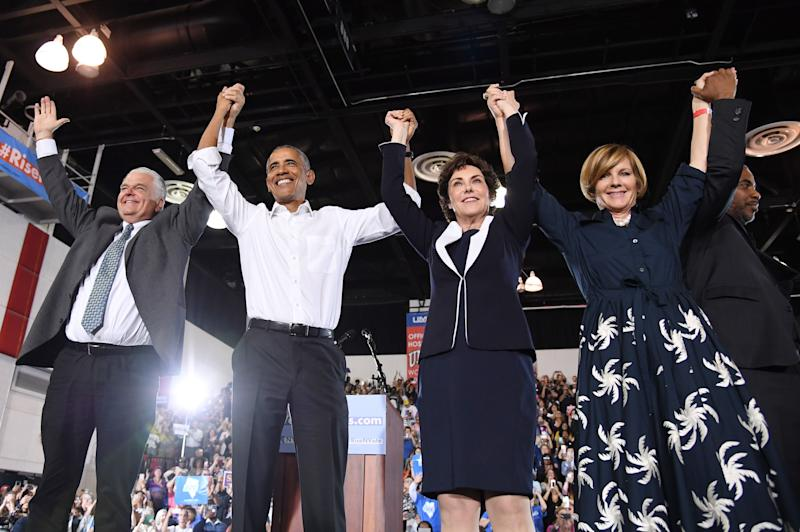 Former President Barack Obama appeared at a rally at theUniversity of Nevada, Las Vegas, on Monday and urged people to vote in November's elections. (Photo: Ethan Miller via Getty Images)