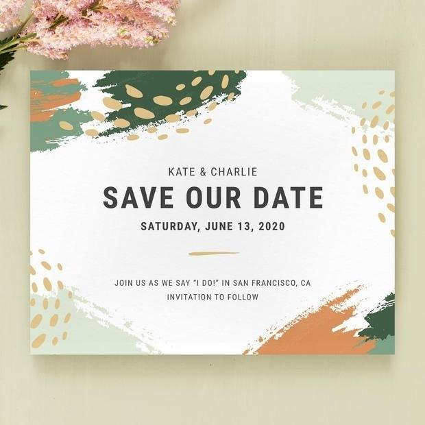 "<h2>Bedford Save The Date</h2> <p>This whole suite has the prettiest shades of earthy greens, mixed with low-key psychedelic paint splatters.</p> <p>SHOP NOW: <a href=""https://www.zola.com/wedding-planning/save-the-date/b7683e27-41cb-4a62-9b50-d3b686025ab5"" rel=""nofollow"">Zola</a>, $135 for 100</p>"
