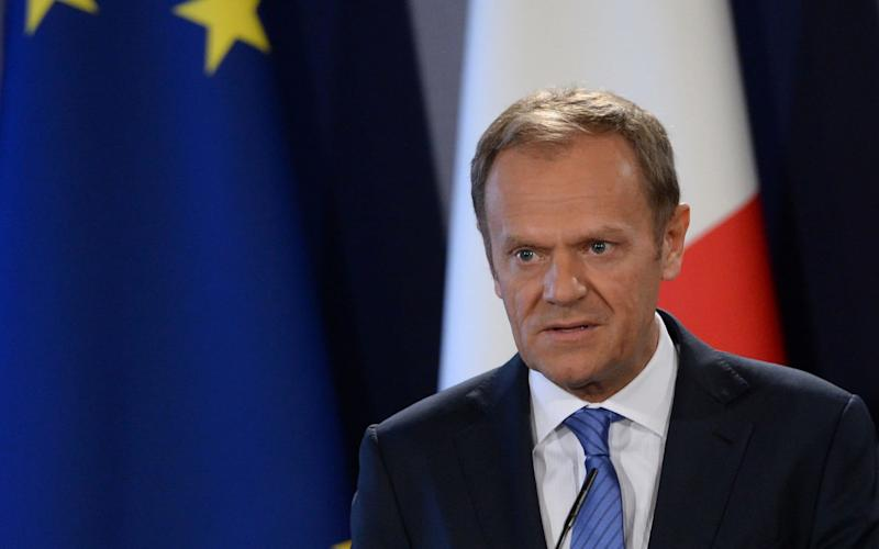 The President of the European Council Donald Tusk speaks during a press conference on March 31, 2017 in St Julians Malta.  - AFP