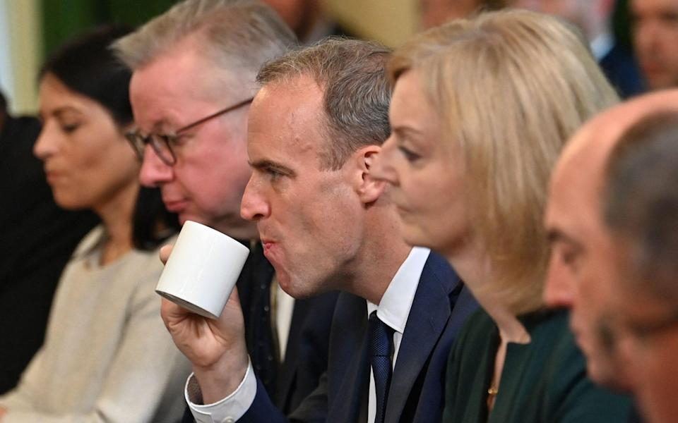 Dominic Raab was demoted this week after a lengthy meeting with the PM - AFP