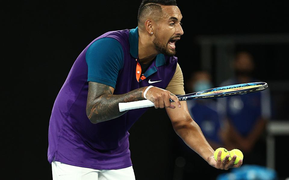 Nick Kyrgios, pictured here having words with chair umpire Marijana Veljovic about a let call.