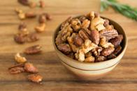 """<p>Any combination of nuts—cashews, walnuts, pecans, or almonds—will work for this flavorful mix. Season the nuts with citrus, rosemary, and a hint of cayenne pepper. </p><p><a href=""""https://www.thepioneerwoman.com/food-cooking/recipes/a90390/fancy-roasted-cocktail-nuts/"""" rel=""""nofollow noopener"""" target=""""_blank"""" data-ylk=""""slk:Get the recipe."""" class=""""link rapid-noclick-resp""""><strong>Get the recipe.</strong></a></p><p><a class=""""link rapid-noclick-resp"""" href=""""https://go.redirectingat.com?id=74968X1596630&url=https%3A%2F%2Fwww.walmart.com%2Fsearch%3Fq%3Dpioneer%2Bwoman%2Bserving%2Bbowls&sref=https%3A%2F%2Fwww.thepioneerwoman.com%2Ffood-cooking%2Fmeals-menus%2Fg37320750%2Fthanksgiving-appetizers%2F"""" rel=""""nofollow noopener"""" target=""""_blank"""" data-ylk=""""slk:SHOP SERVING BOWLS"""">SHOP SERVING BOWLS</a></p>"""