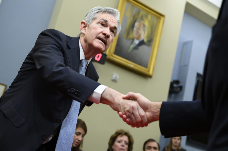 UNITED STATES - NOVEMBER 14: Jerome Powell, chairman of the Federal Reserve Board, arrives to testify during the House Budget Committee hearing titled The Economic Outlook: The View from the Federal Reserve, in Cannon Building on Thursday, November 14, 2019. (Photo By Tom Williams/CQ-Roll Call, Inc via Getty Images)