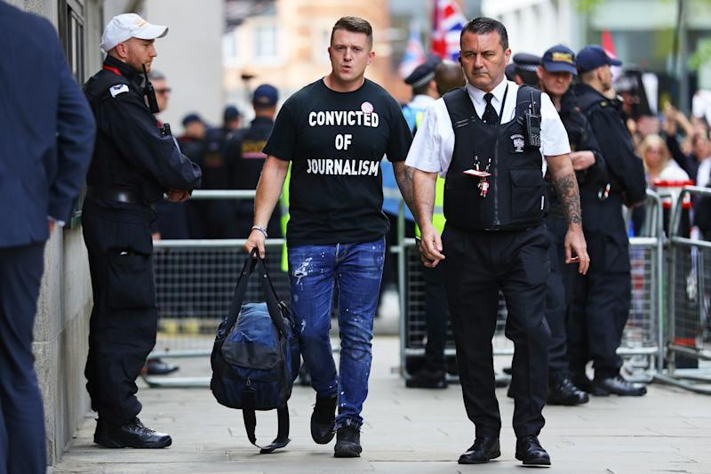 Tommy Robinson arrives for his sentencing at the Old Bailey in London.