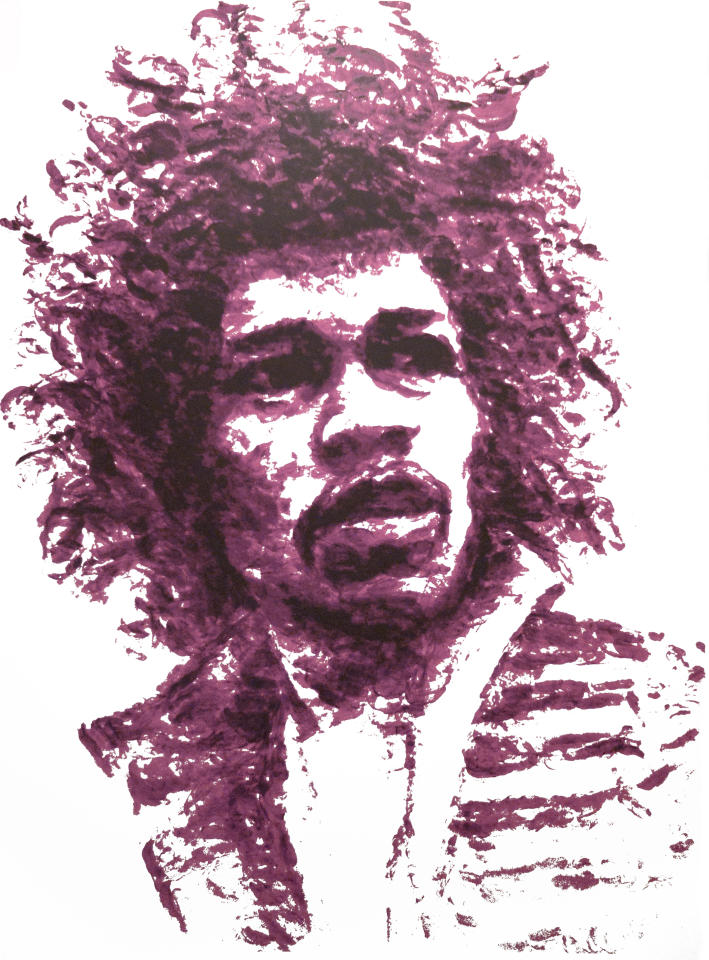 Texas artist Natalie Irish created this portrait of Jimi Hendrix without touching a paintbrush. Instead, she applied bright lipstick and kissed the canvas until  Jimi emerged. Check out this slideshow to see more of Natalie's work and creative methods! (Photo: Chris O'Malley)
