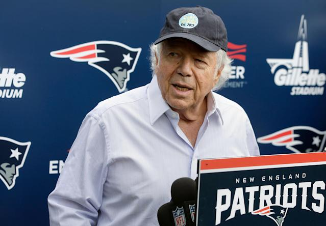 "Robert Kraft's lawyers argue that the warrant used to install cameras in a Florida prostitution sting is ""constitutionally problematic."" (AP)"