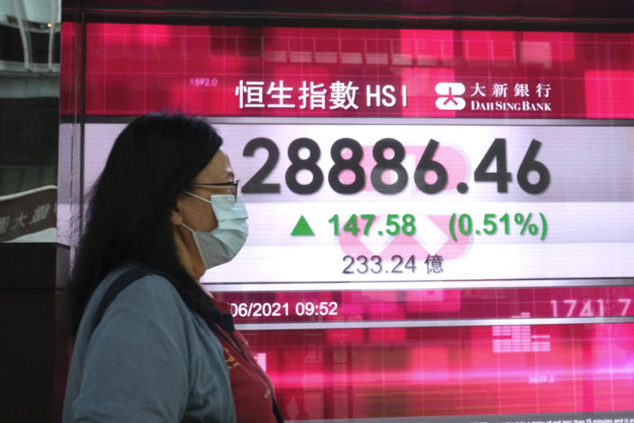 A woman wearing a face mask walks past a bank's electronic board showing the Hong Kong share index in Hong Kong, Friday, June 11, 2021. Shares were mostly higher in Asia on Friday after the S&P 500 index notched another record high despite a 5% surge in U.S. consumer prices in May. (AP Photo/Kin Cheung)