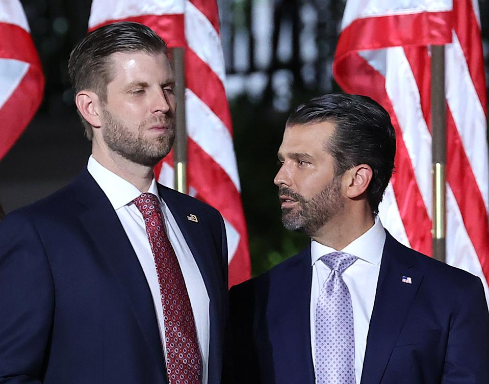 Donald Trump Jr. (R) and Eric Trump have taken to social media to support their father's conspiracy theories about the election being stolen from him. Source: Getty