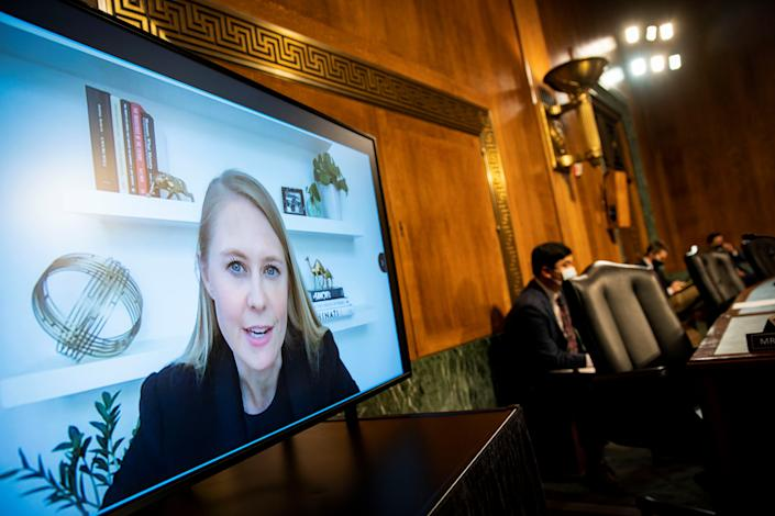 Lauren Culbertson, head of U.S. public policy at Twitter Inc., testifies virtually during a Senate Judiciary Subcommittee hearing in Washington, D.C., U.S., April 27, 2021. (Al Drago/Pool via Reuters)