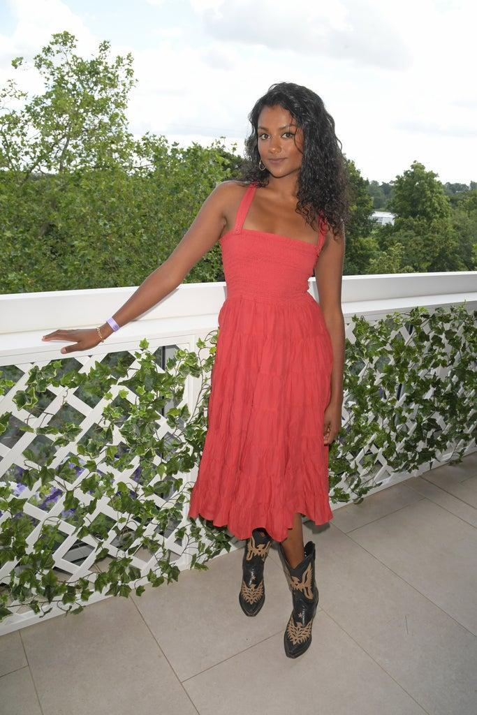 LONDON, ENGLAND – JULY 05: Simone Ashley, wearing Polo Ralph Lauren, attends the Polo Ralph Lauren & British Vogue day during Wimbledon at All England Lawn Tennis and Croquet Club on July 5, 2021 in London, England. (Photo by David M. Benett/Dave Benett/Getty Images for Ralph Lauren)