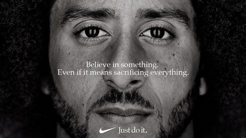 "FILE PHOTO: Colin Kaepernick appears as a face of Nike Inc advertisement marking the 30th anniversary of its ""Just Do It"" slogan"