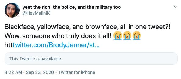 "Tweet reads: ""Blackface, yellowface, and brownface, all in one tweet?! Wow, someone who truly does it all."""