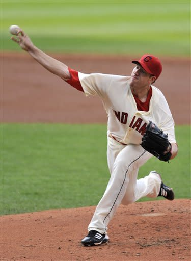 Cleveland Indians starting pitcher Zach McAllister delivers in the second inning of a baseball game against the Boston Red Sox, Saturday, Aug. 11, 2012, in Cleveland. (AP Photo/David Richard)