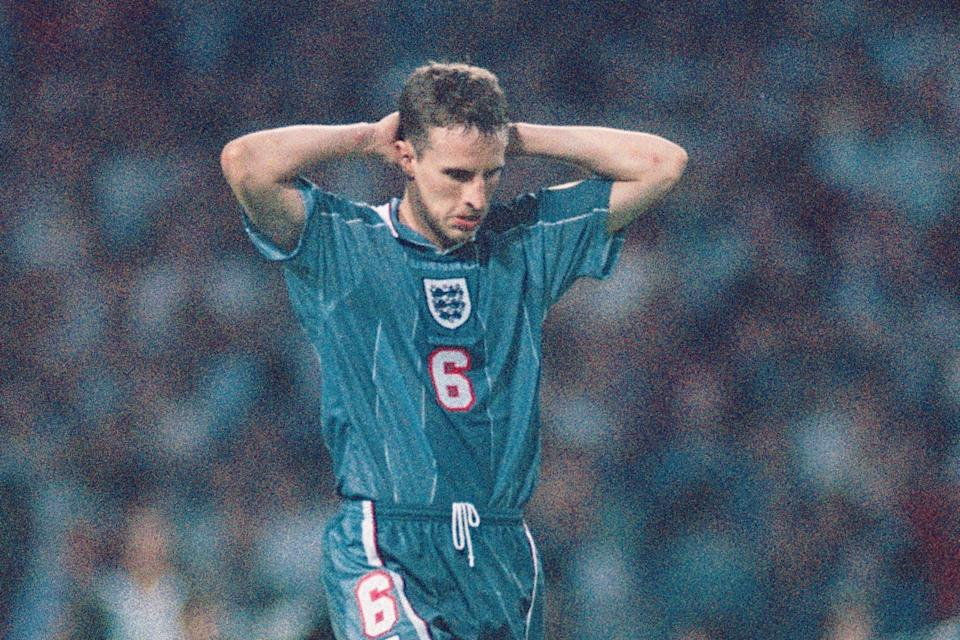 Gareth Southgate famously missed in England's penalty shootout against Germany in the semi-finals at Euro 96 (Getty Images)