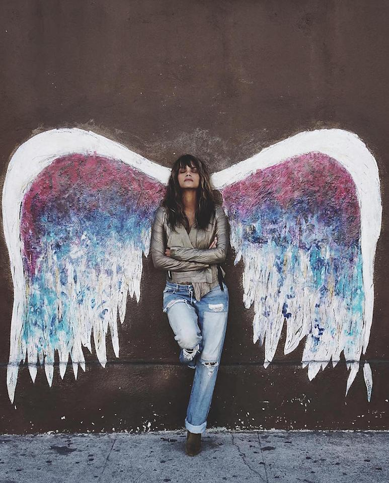 """<p>The Oscar-winning actress is a true earth angel — or she was this day. She joined the masses and posed by artist Colette Miller's colorful wings, part of the Global Angel Wings Project, in the Beverly Grove section of L.A. (Miller's wings are in several cities around the world.) All Halle needed was a halo to complete this celestial look. (Photo:<a rel=""""nofollow"""" href=""""https://www.instagram.com/p/BL1cs9YBwqM/"""">Instagram</a>) </p>"""
