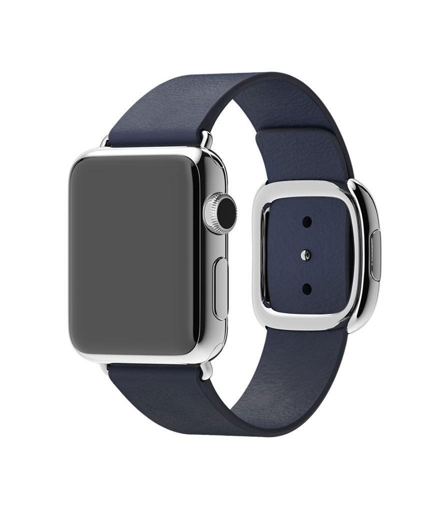 """<p>Apple Watch 38MM Stainless Steel Case with Midnight Blue Modern Buckle, $749, <a href=""""http://www.apple.com/shop/buy-watch/apple-watch/38mm-stainless-steel-case-with-midnight-blue-modern-buckle?product=MJ332LL/A&step=detail#"""" rel=""""nofollow noopener"""" target=""""_blank"""" data-ylk=""""slk:apple.com"""" class=""""link rapid-noclick-resp"""">apple.com</a><br><br></p>"""