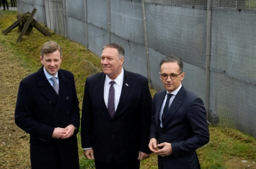 """German Foreign Minister Heiko Maas and Mike Pompeo, US secretary of state, met in Moedlareuth, Germany, once a divided """"Little Berlin"""" where Pompeo had served as a young army officer"""