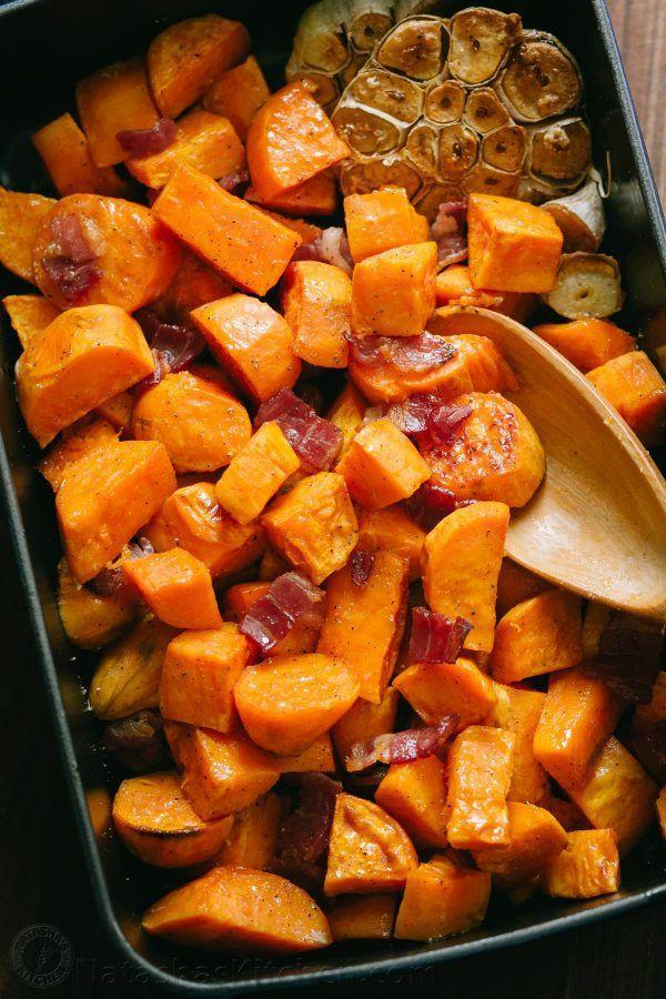 """<p>Truth: Bacon makes everything better. You'll be enjoying this sweet and savory side down to the very last forkful. </p><p><strong>Get the recipe at <a href=""""https://natashaskitchen.com/maple-roasted-sweet-potatoes-and-bacon/"""" rel=""""nofollow noopener"""" target=""""_blank"""" data-ylk=""""slk:Natasha's Kitchen"""" class=""""link rapid-noclick-resp"""">Natasha's Kitchen</a>.</strong></p>"""