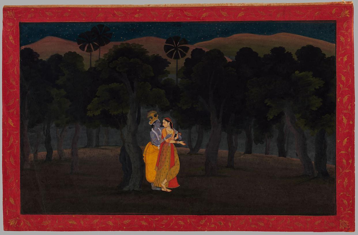 """""""The Lovers Radha and Krishna in a Palm Grove.""""Illustrated folio from the dispersed """"Second"""" or """"TehriGarhwal"""" Gita Govinda (Song of the Cowherds)Punjab Hills, kingdom of Kangra or Guler, ca. 1775–80.Opaque watercolor and gold on paper; red borderdecorated with gold arabesque, with black inner rules;painting 6 x 9 7/8 in.Promised Gift of the Kronos Collections, 2015"""