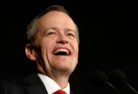 FILE PHOTO -  Australian Labor Party opposition leader Bill Shorten laughs during remarks at his election night party in Melbourne