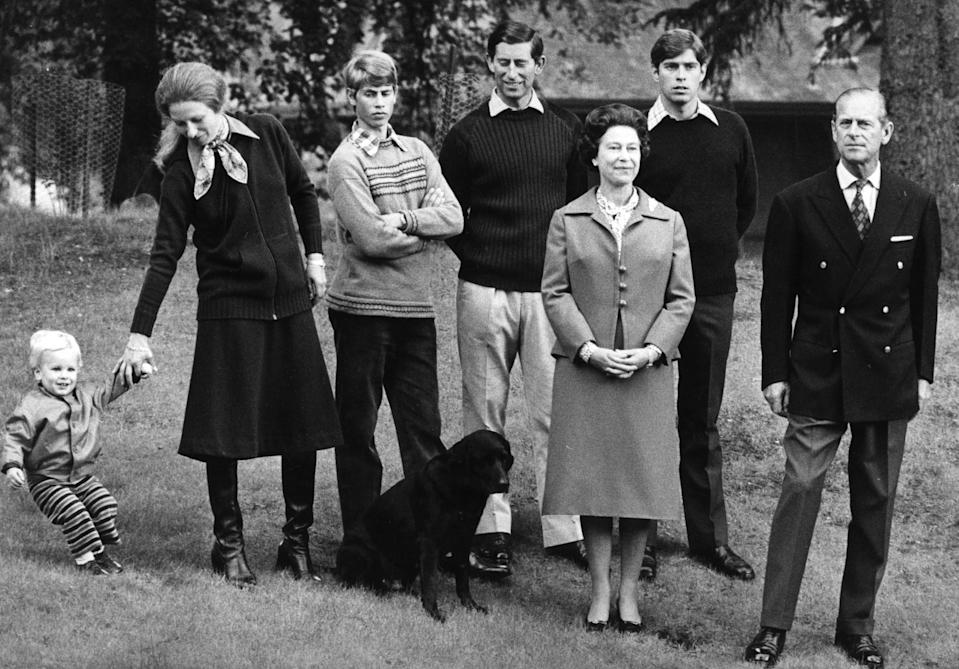 (l-r) Peter Phillips, Princess Anne, Prince Edward, Prince Charles, Queen Elizabeth II, Prince Andrew and the Duke of Edinburgh at Balmoral Castle. The Queen and Prince Philip are celebrating 32 years of marriage.