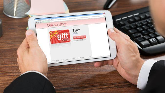 gift card, online gift card, tablet