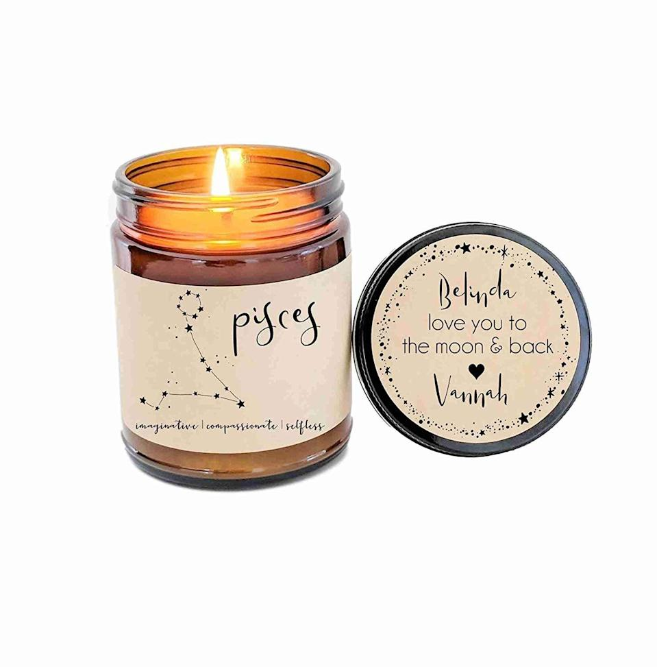 <p>You can customize the message on the lid of this <span>Pisces Zodiac Candle</span> ($24).</p>