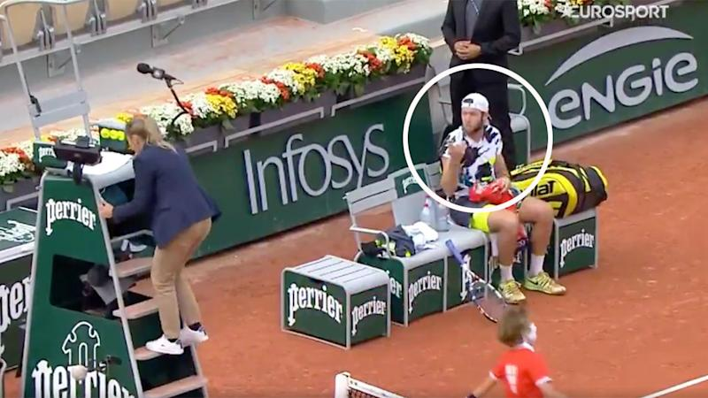 Jack Sock can be seen here arguing with a chair umpire at the French Open.