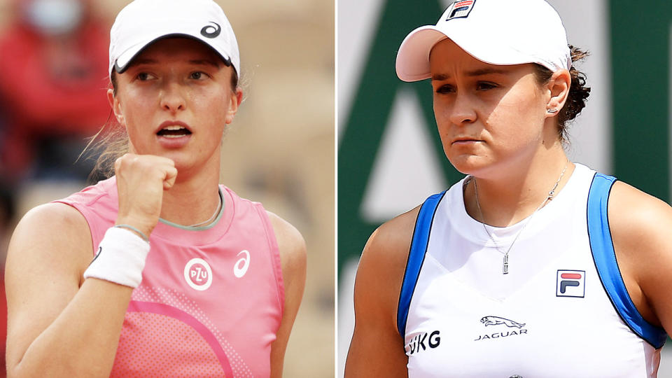 Iga Swiatek and Ash Barty, pictured here at the French Open.