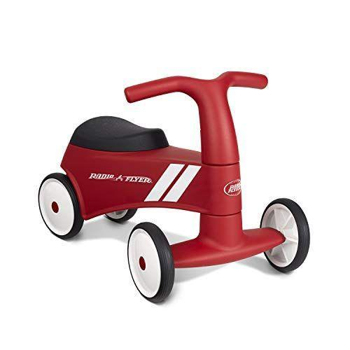 "<p><strong>Radio Flyer</strong></p><p>amazon.com</p><p><strong>$29.99</strong></p><p><a href=""https://www.amazon.com/dp/B07P8FSPKS?tag=syn-yahoo-20&ascsubtag=%5Bartid%7C10055.g.34425717%5Bsrc%7Cyahoo-us"" rel=""nofollow noopener"" target=""_blank"" data-ylk=""slk:Shop Now"" class=""link rapid-noclick-resp"">Shop Now</a></p><p>This ride-on <strong>provides little riders support in developing their stability and balance. </strong>The wide front base gives children's feet ample space to explore, and with working steering they can help develop motor skills needed for more advanced ride-ons. Kids testers loved hiding favorite goodies in the seat hidden compartment.<br><br><strong>Ages:</strong> 1-3 years old<br><strong>Max Weight:</strong> 42 pounds</p>"