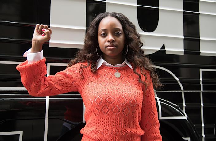 Tamika Mallory at a #FreeMeek rally during Meek Mill's court appearance in 2019 in Philadelphia. (Gilbert Carrasquillo/Getty Images)